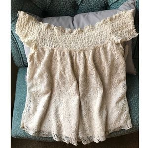 Eyelet white lace off the Shoulder top